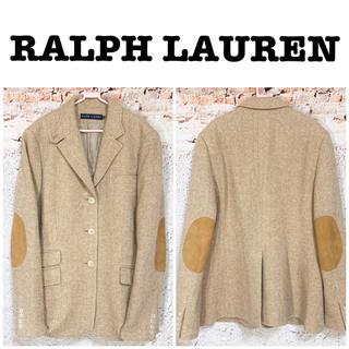 ラルフローレン(Ralph Lauren)のラルフローレン 本革エルボーパッチ ヘリンボーン柄 ウールジャケット(テーラードジャケット)