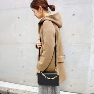 イエナ(IENA)の新品タグ付き☆イエナ☆二重織りシャルムフードコクーンコート ブラウンC40(ロングコート)