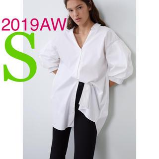 ZARA - *2019AW*ZARA ロング ポプリン シャツ ホワイト ブラウス
