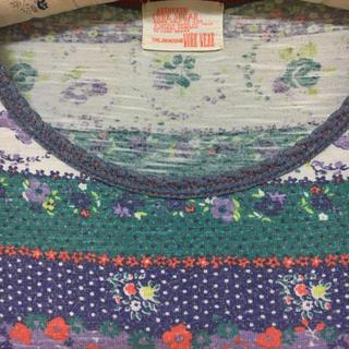 キューブシュガー(CUBE SUGAR)のCUBE SHUGAR 花柄ボーダー長袖カットソー(カットソー(長袖/七分))