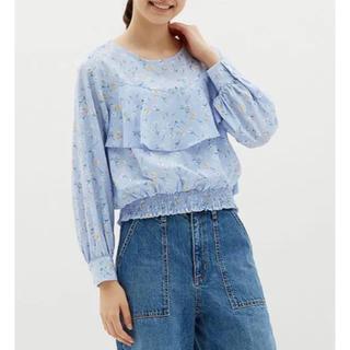 GU - ジーユー GU 花柄 ブラウス 長袖 レディース 水色 ブルー