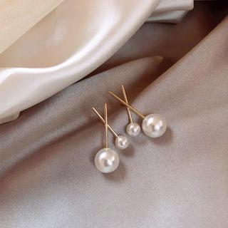 AHKAH - クロスラインパール ピアス cross gold line pearl