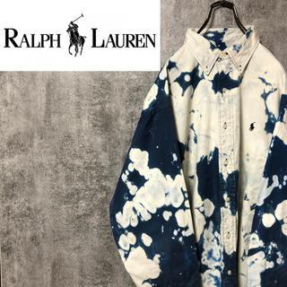 Ralph Lauren - 【激レア】ラルフローレン☆ブリーチ加工ワンポイント刺繍BDビッグシャツ 90s