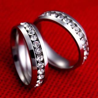 ラインストーン ステンレスリング ステンレス指輪 ピンキーリング(リング(指輪))
