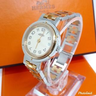 Hermes - 美品! HERMES エルメス クリッパー コンビ レディースモデル 腕時計