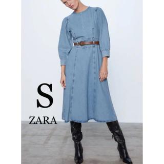 ZARA - 【新品・未使用】ZARA ベルト付き デニム ワンピース S