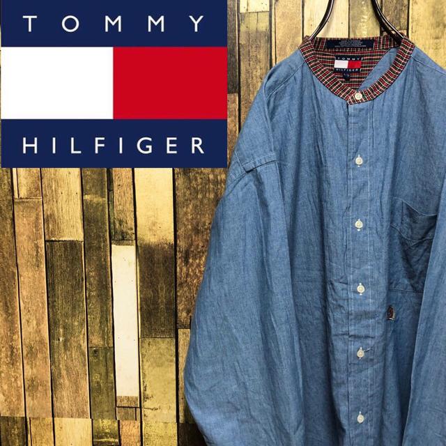 TOMMY HILFIGER(トミーヒルフィガー)の【激レア】トミーヒルフィガー☆刺繍ロゴチェック柄切替シャンブレーノーカラーシャツ メンズのトップス(シャツ)の商品写真