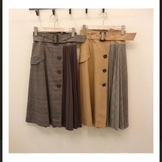 Apuweiser-riche - Apuweiser richeサイドプリーツトレンチスカートキャメル膝丈スカート
