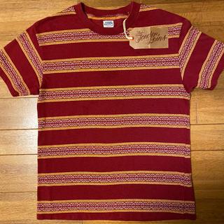TENDERLOIN - 絶版! TENDERLOIN 半袖Tシャツ ジャガード ボーダー バーガンディー