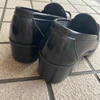 ハルタ(HARUTA)のHARUTA 黒ローファー 4.5cmヒール 3E22.5(ローファー/革靴)