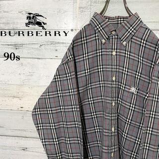 BURBERRY - 【激レア】バーバリー☆希少 刺繍ロゴ ノバチェック 長袖BDシャツ 90s