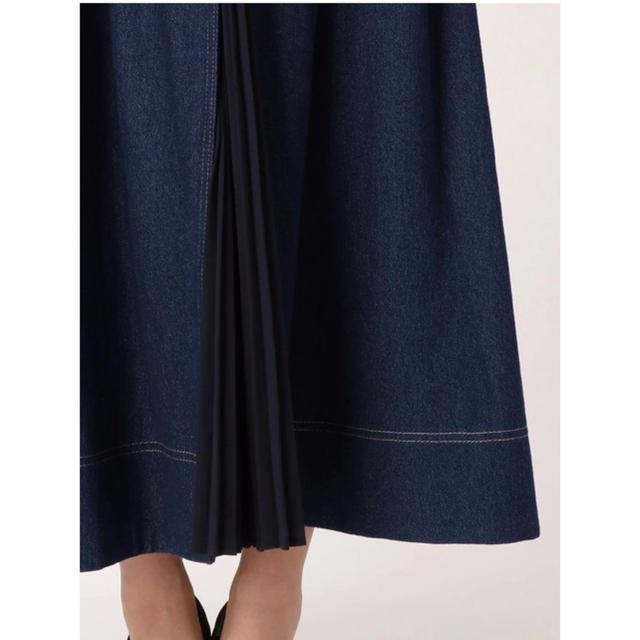 MERCURYDUO(マーキュリーデュオ)のプリーツ切替デニムフレアスカート MERCURYDUO レディースのスカート(ロングスカート)の商品写真