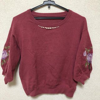 マジェスティックレゴン(MAJESTIC LEGON)の袖刺繍プルオーバー(カットソー(長袖/七分))