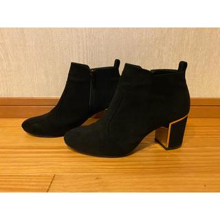ショートブーツ スエード素材 ブラック×ゴールド(ブーツ)