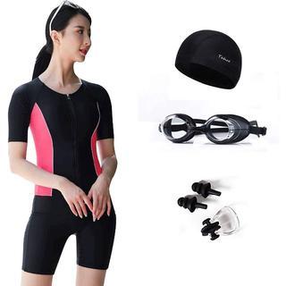 ①レディース水着 半袖 5点セット めくれ防止 ピンク Mサイズ