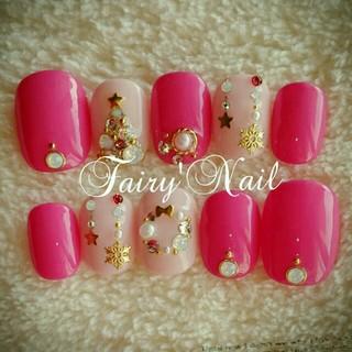 2色のピンク♡X'mas🎄ネイル♡