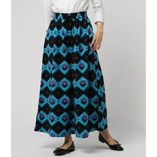 ロデオクラウンズ(RODEO CROWNS)のロデオクラウンズ カラフル ネイティブ柄 オルテガ柄 スカート見えワイドパンツ(その他)