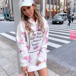 レディー(Rady)のRady♡フラワーフーディワンピース パーカー花柄ホワイトピンクラベンダー(パーカー)