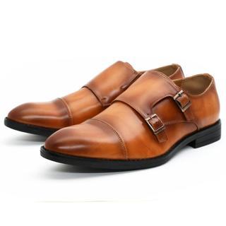 ビジネスシューズ ダブルモンク ブラウン メンズ 紳士靴 25.5cm(ドレス/ビジネス)