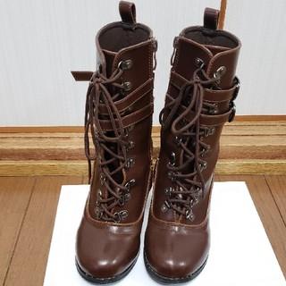 編み上げショートブーツ ブラウン 23センチ(ブーツ)