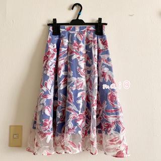 JUSGLITTY - 美品‼︎ ジャスグリッティー 膝丈スカート 花柄 フラワー ブルー レッド