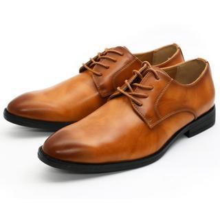 ビジネスシューズ プレーントゥ ブラウン メンズ 紳士靴 25.5cm(ドレス/ビジネス)