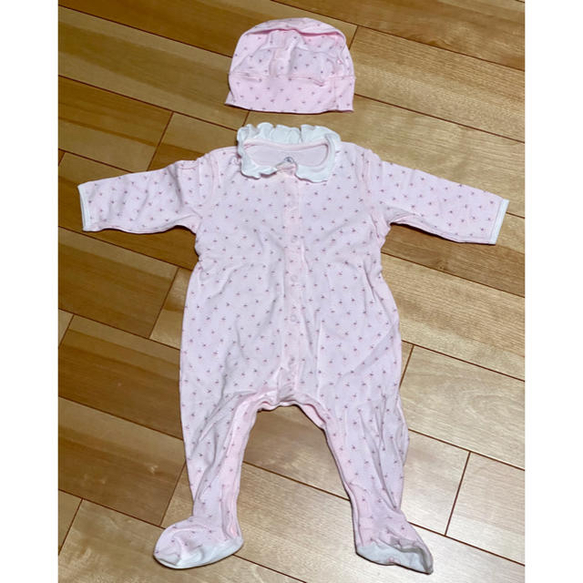 PETIT BATEAU(プチバトー)のプチバトー 足付きカバーオール&帽子 キッズ/ベビー/マタニティのベビー服(~85cm)(ロンパース)の商品写真