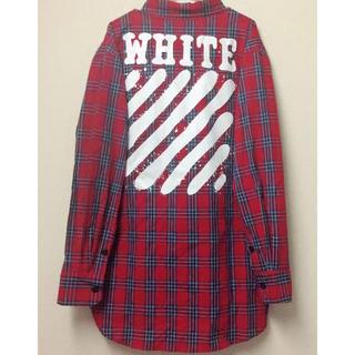 OFF-WHITE - OFF-WHITE チェック ダイアゴナル スプレー 赤 シャツ L