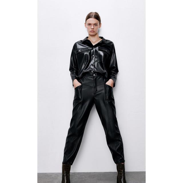 ZARA(ザラ)のZARA レザー風シャツジャケット メンズのジャケット/アウター(レザージャケット)の商品写真