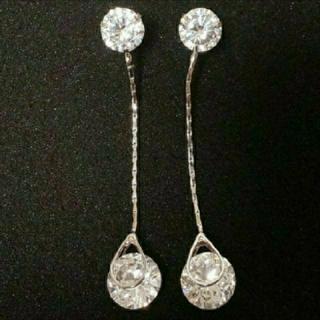 SWAROVSKI - f12❇️ダリア❇️純銀製 ダイヤモンドキュービックジルコニア ロング ピアス