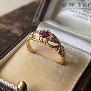 アンティーク エドウォーディアン ダイヤモンド ルビー 18金リング(リング(指輪))