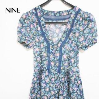 ナイン(Qnine(9))のNINE(ナイン) ワンピース サイズF レディース美品 花柄(ひざ丈ワンピース)