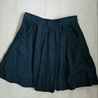 アラマンダ(allamanda)のallamanda 緑 フリル ポケット スカート ベロア風(ミニスカート)