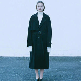 "SUNSEA - [stein] lay overlap chester coat ""Black"""