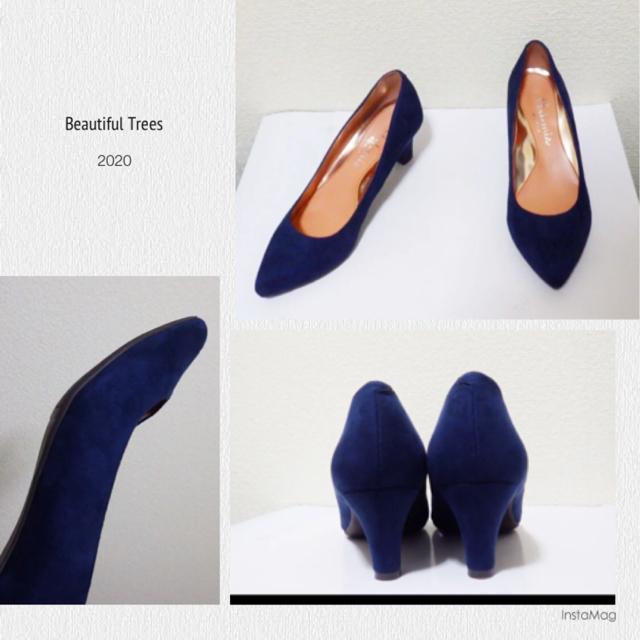 DIANA(ダイアナ)の24cm*美品*DIANA ネイビースエード ミドルヒール パンプス ハイヒール レディースの靴/シューズ(ハイヒール/パンプス)の商品写真