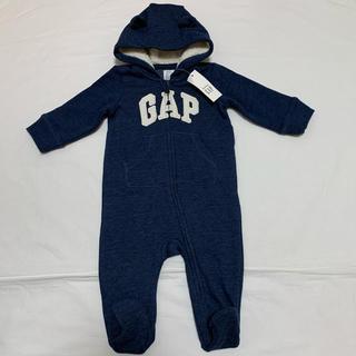 babyGAP - 新品 ベビーギャップ  裏起毛 くま耳 カバーオール 50 足つき ロンパース