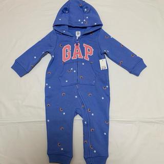 babyGAP - 新品 ベビーギャップ 裏起毛 ロゴ入り くま耳 ロンパース  80 つなぎ