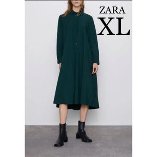 ザラ(ZARA)の【新品・未使用】ZARA バック プリーツ シャツ  ワンピース グリーン XL(ロングワンピース/マキシワンピース)