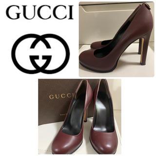 グッチ(Gucci)の美品 グッチ パープルブラウンレザー  パンプス(ハイヒール/パンプス)