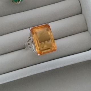 09 昭和レトロ 色硝子リング 指輪 イエロー 黄色(リング(指輪))
