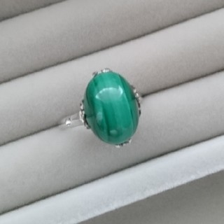 11 昭和レトロsilver千本透かし マラカイトリング シルバー 天然石(リング(指輪))