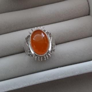 21 昭和レトロ オレンジストーン リング 指輪 天然石(リング(指輪))