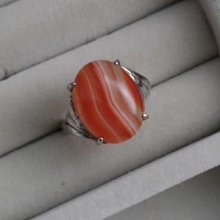 24 昭和レトロ silverG 縞瑪瑙リング メノウ 指輪 アンティーク(リング(指輪))
