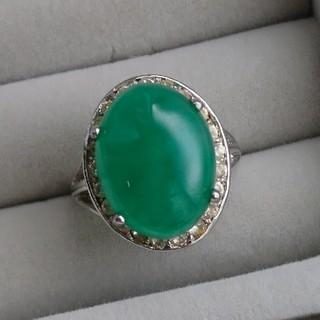 26 緑色 天然石 ジルコニア リング 指輪 翡翠?(リング(指輪))