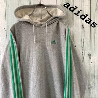 adidas - 【人気】美品 アディダス ワンポイント 刺しゅう 袖ライン プルオーバーパーカー