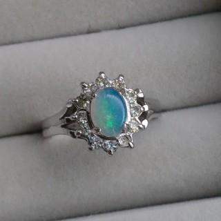 33 オパール ラインストーン リング 天然石 取り巻き 指輪