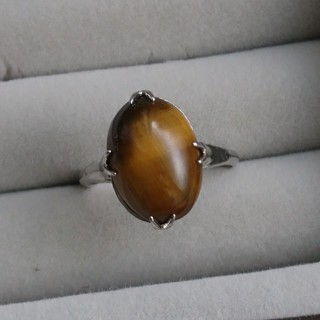 34 昭和レトロ silverG タイガーアイリング 虎目石 指輪