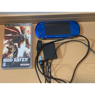PlayStation Portable - PSP3000 PSP ブルー 充電器 ソフト メモリースティック 付き