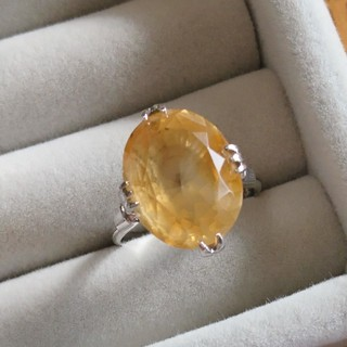 47 昭和レトロ 千本透かし silver 黄水晶 リング シルバー(リング(指輪))