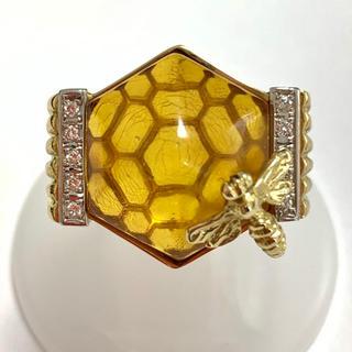 琥珀 こはく ダイヤモンド リング 指輪 蜂 k18yg イエロー  ゴールド(リング(指輪))